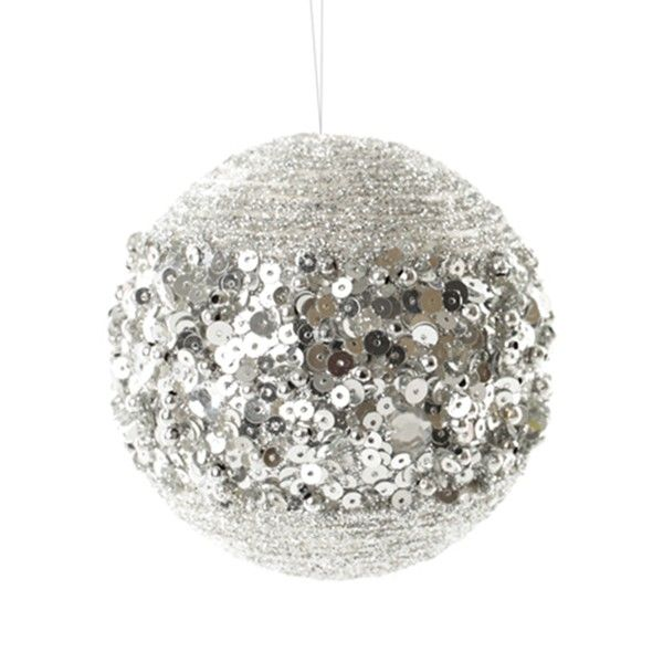 Silver Glitter Sequin Christmas Ball