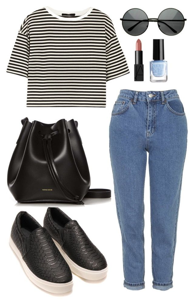 """How to style: mom jeans"" by cathk ❤ liked on Polyvore featuring Topshop, TIBI, Rachael Ruddick, NARS Cosmetics, H&M, stripes, bags, momjeans and slipon"