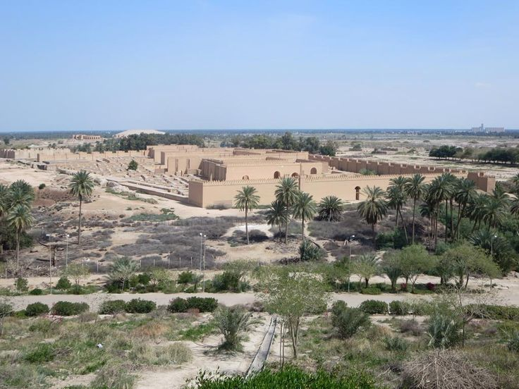 "A sweeping view of the restored Palace of Nebuchadrezzar II at Babylon, Iraq, is obtained from a nearby hilltop. The ""writing on the wall"" incident mentioned in the Bible took place in this palace."