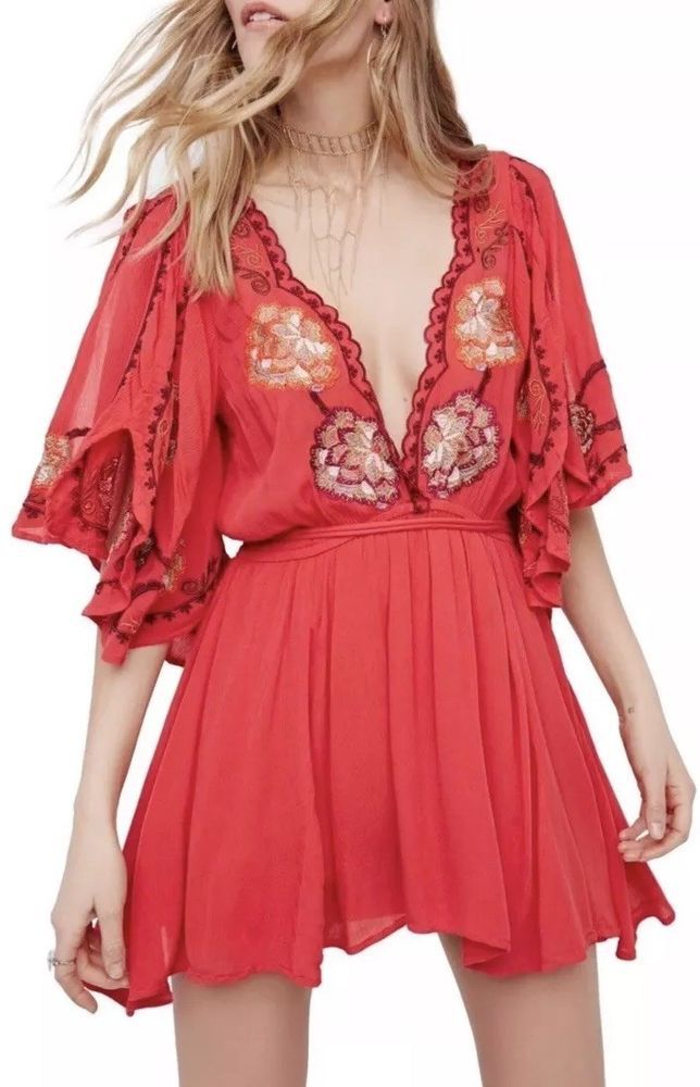 3c02bc64b1b33 NWT Free People Cora Embroidered Mini Dress Red Crepe Wide Sleeves ...