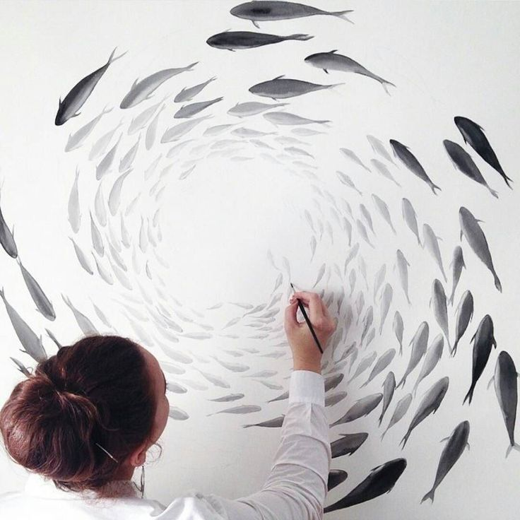 Stunning shoal of fish! Artwork by @niharikahukku  #artcentral by arts.central