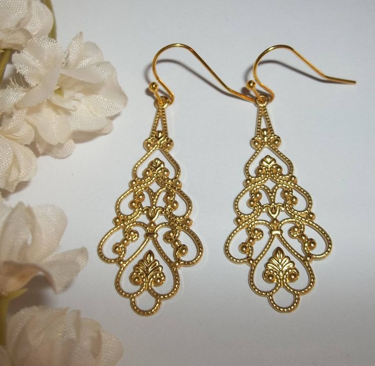 Great for gifts!  #etsy shop: Gold Filagree Dangle Earrings Costume Jewelry Open Weave Design Lightweight Statement Gift For Her Birthday Anniversary Friend wvluckygirl http://etsy.me/2BZjhNY #jewelry #earrings #gold #women #earlobe #wvluckygir