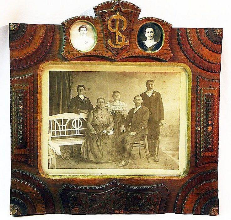 tramp art polychrome frame w immigrant photos ca 1914