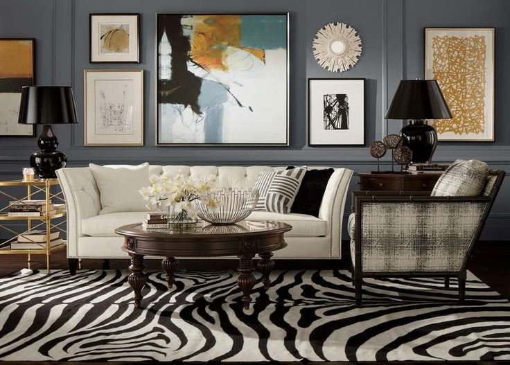 This Ethan Allen Zebra Rug In Expresso Ivory Gives Room Some Spectacular Style