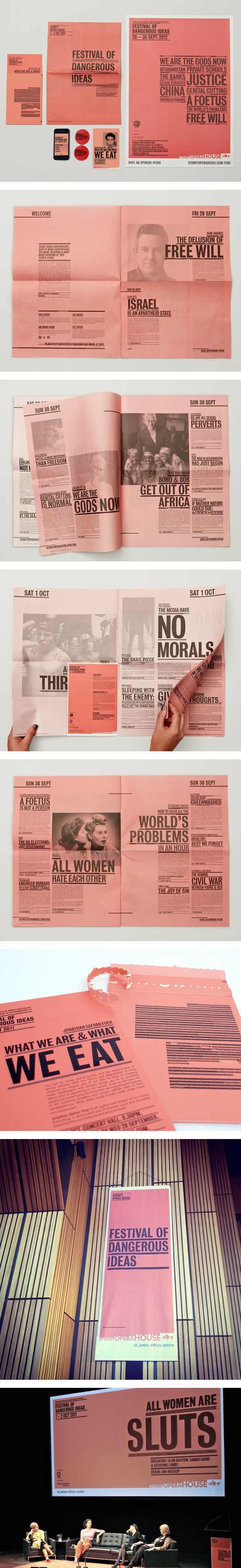 Festival of Dangerous Ideas 2011 & 2012 by Leah Procko, via Behance pink newspaper :)