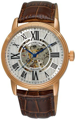 Stuhrling Original Men's 1077.3345K2 Classic Delphi Venezia Automatic Skeleton Brown Watch