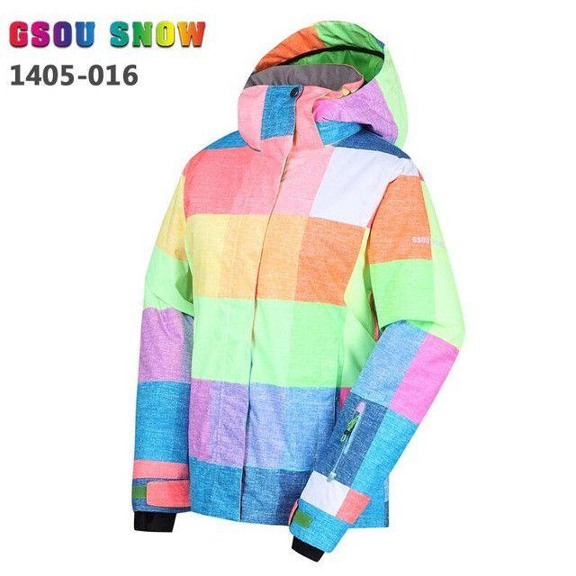 Gsou Snow Ski Jacket Women -30 Degree Women's Snowboard Jacket Winter Coats Windproof Waterproof Breathable Colorful Skiwear