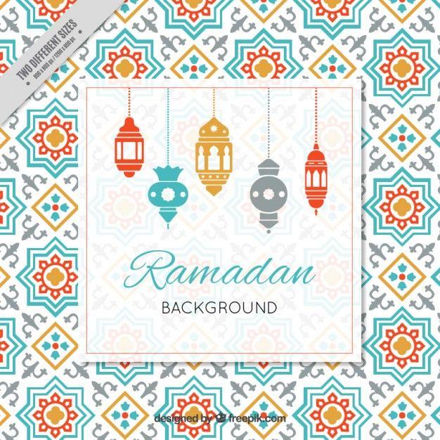 fundo Ramadan com lâmpadas árabe Vetor grátis
