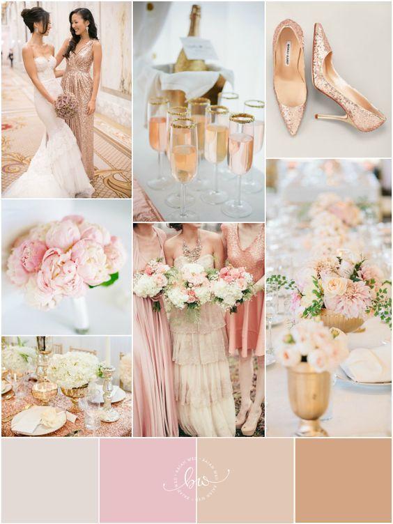 Una paleta de colores románticos y soñados, oro rosado, blush, pink, dorado y blanco se conjugan para lograr una decoración de bodas lujosa sin necesidad de tirar la casa por la ventana.