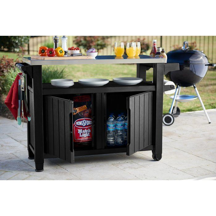 Cambron Caster Bar Serving Cart Patio Storage Bbq Table Outdoor Kitchen
