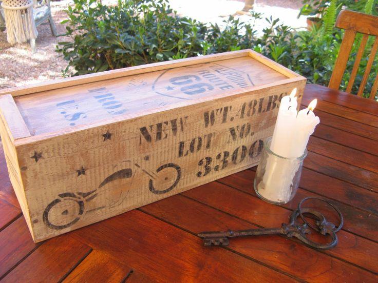 Caja de vino reciclada con pintura Chalk Paint y stencils