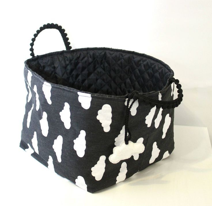 Excited to share the latest addition to my #etsy shop: CLOUDS textile basket, fabrik box, storage, nurcery kidsroom, black and white decor #storage #babyshower #black #white #cloud #basket http://etsy.me/2BRFSuE