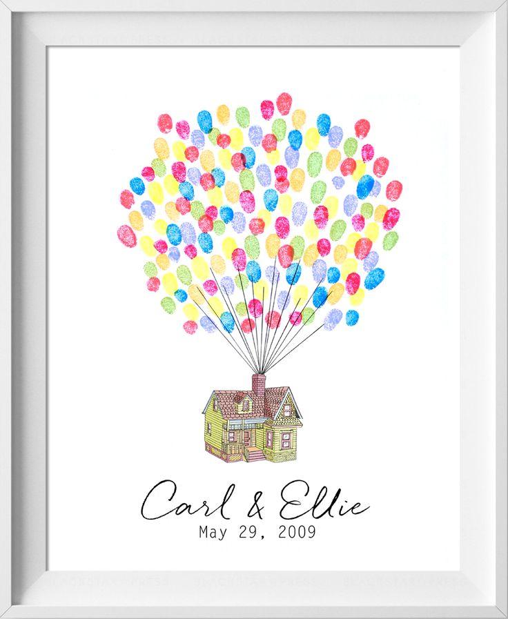 Disney Up Wedding Guestbook, Up house guest book, fingerprint tree, Pixar thumbprint guestbook