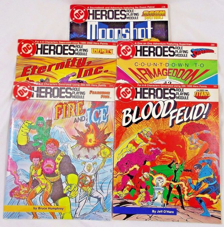 Moonshot featuring The Doom Patrol. Blood Feud featuring The New Teen Titans. Countdown to Armageddon featuring Superman. Available is a lot of 5 adventure modules for the DC Heroes Role-Playing Game. | eBay!