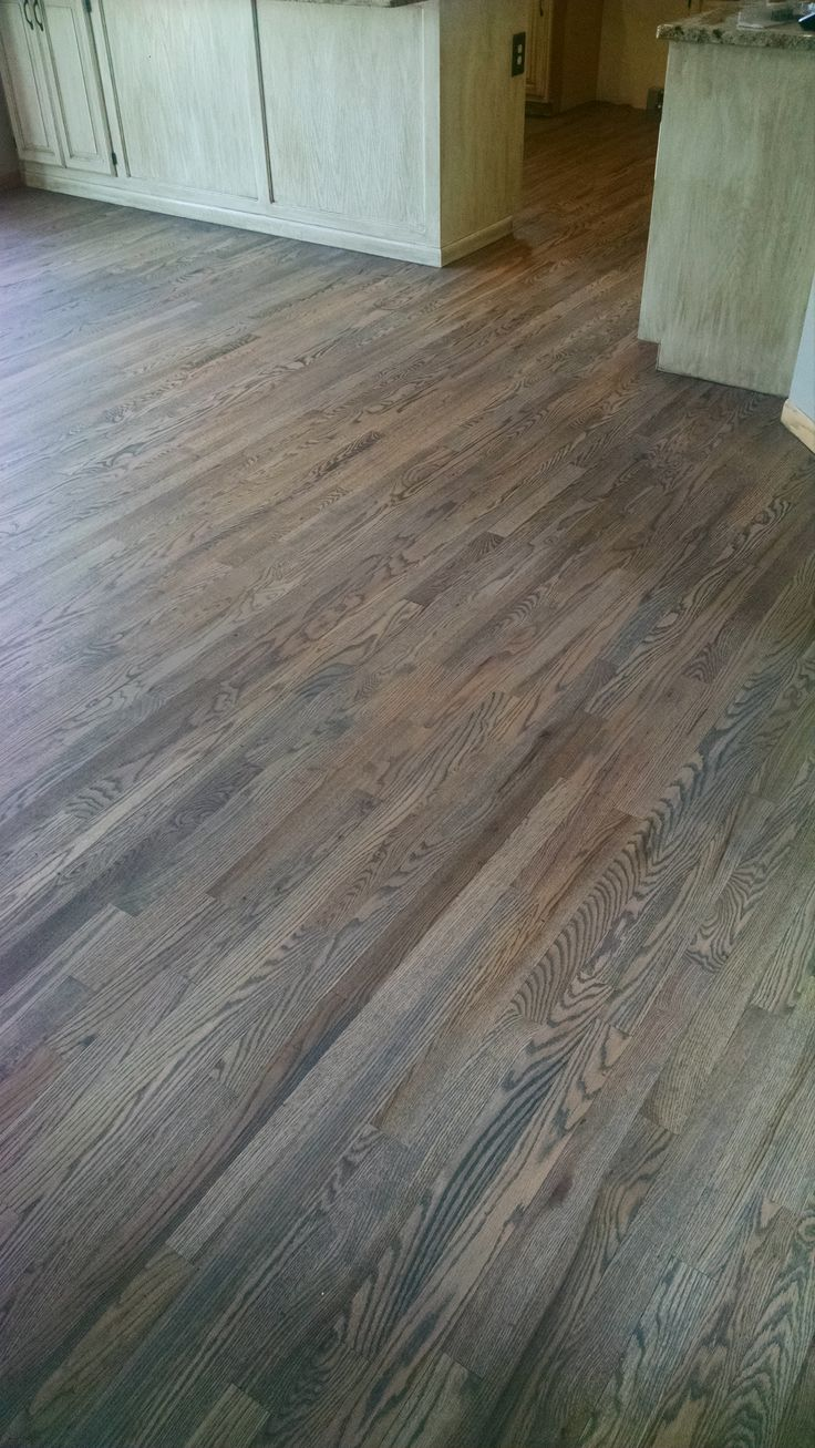 Red oak floor with custom gray stain hardwood floors for Hardwood floors stain colors