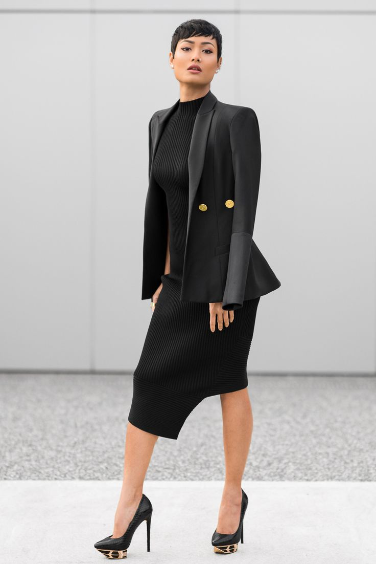 asymmetrical-dress-with-blazer-and-golden-pumps
