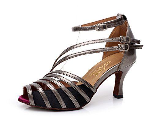 misu - Zapatillas de danza para mujer Negro negro / plateado, color Dorado, talla 36 2/3