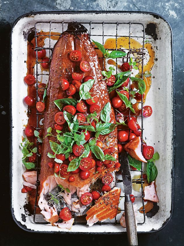honey wood-smoked salmon with quick-pickled tomato from donna hay magazine summer issue #85