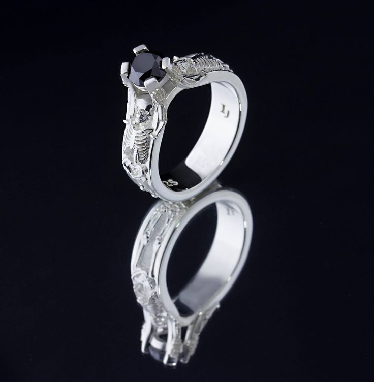 our famous skeleton engagement ring with a black diamond center images jewelers - Weird Wedding Rings