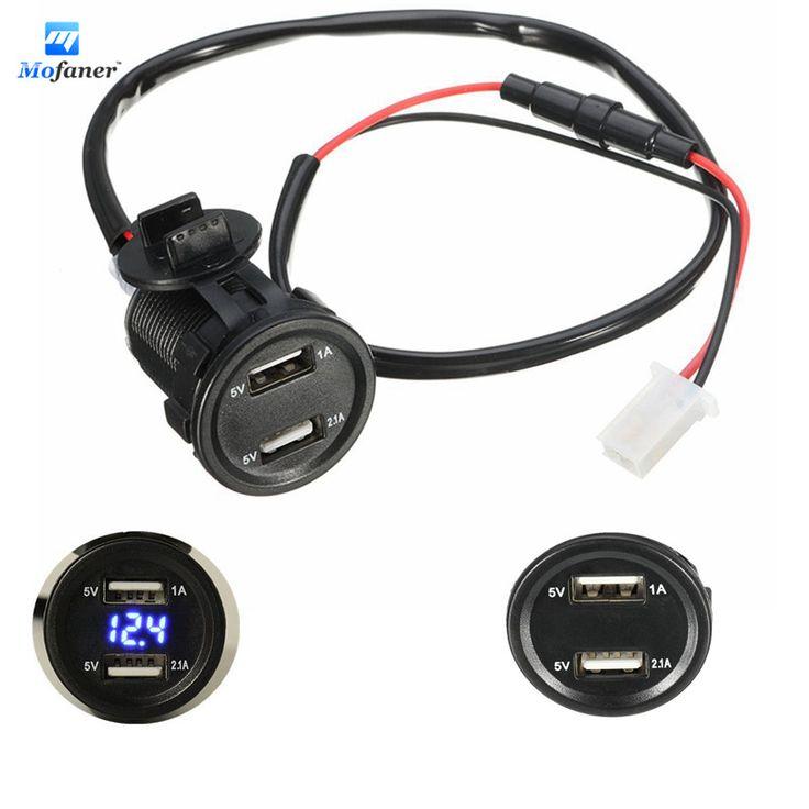 Mofaner 12V 4.2A Dual USB Motorcycle Charger Socket Voltage Voltmeter Led light For Car Motorbike #Affiliate