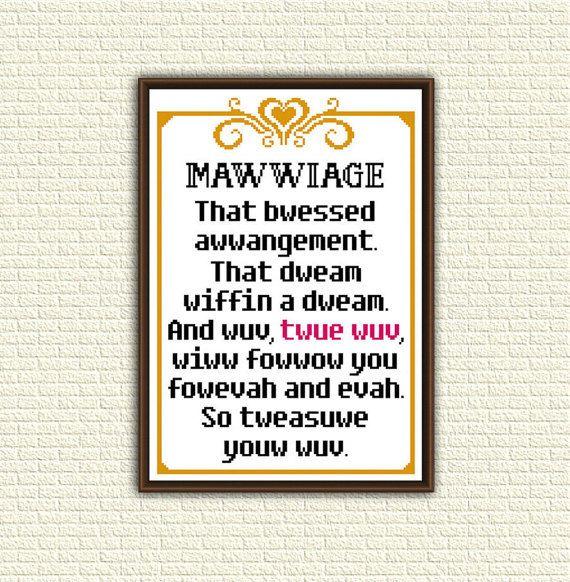 Cross Stitch Pattern pdf - Mawwiage. That bwessed awwangement - Princess Bride -  quote - KbK-074