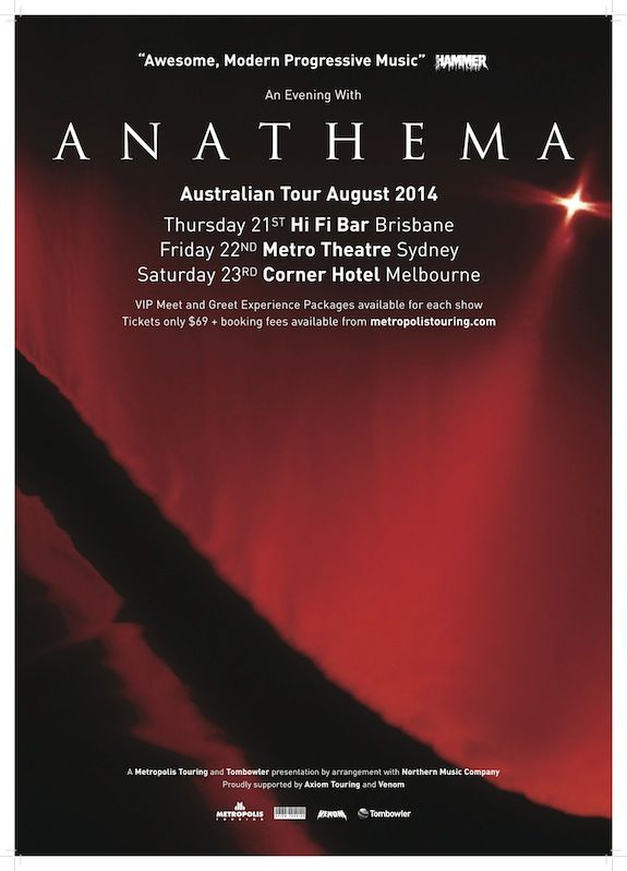 Anathema Australian Tour Poster 2014.