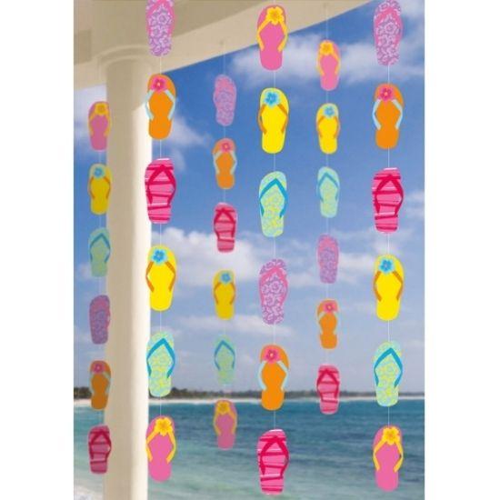 Zomer thema hangdecoratie 6 stuks. Deze hangdecoratie in zomerse stijl hebben per stuk een lengte van ongeveer 210 cm en zijn verpakt per 6 stuks. Materiaal: papier.