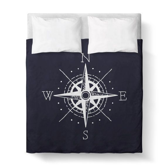 NAUTICAL DUVET COVER  Navy Blue and White by KaliLaineDesigns