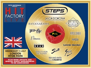 See Stock, Aitken & Waterman legends such as Jason Donovan, Bananarama, Rick Astley, Pepsi & Shirlie, Sinitta, Sonia, 2 Unlimited, Brother Beyond & Steps at Hit Factory Live in Hyde Park on 11th July 2012 - Priority tickets on sale from 9am!  http://www.o2priority.co.uk/Listings/Hit-Factory-Live/17245