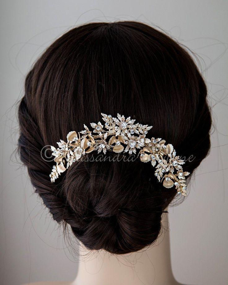 Wedding Hair Piece of Matte Gold