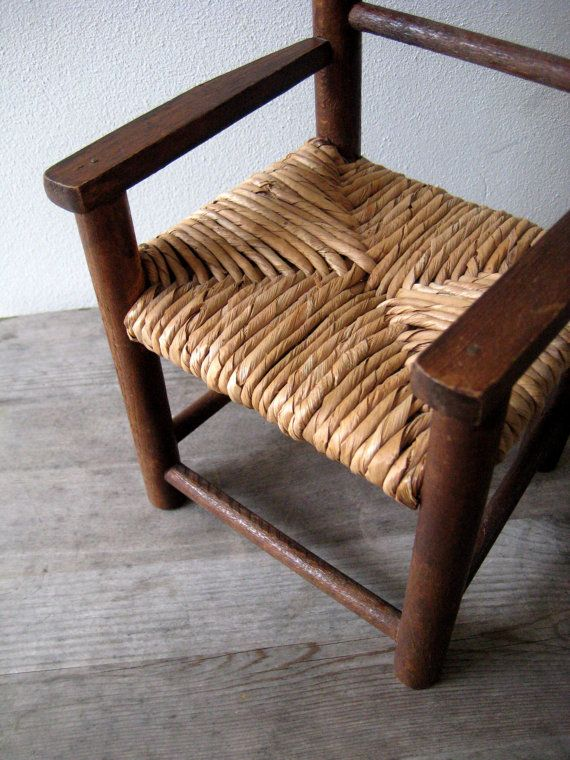 Large Doll Chair vintage doll chair Woven by VerbruggeWatercolor