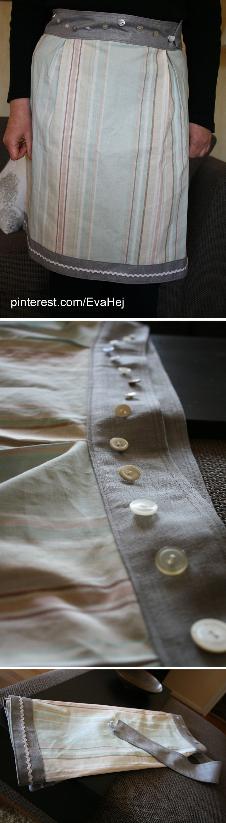 Adjustable apron that is attached at the waist with a button