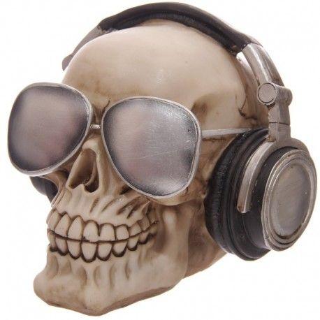 Tirelire - Crâne avec casque et lunette de soleil