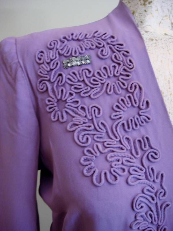 Vintage c1940's as Found Purple Day Dress Rhinestones Soutache Detail