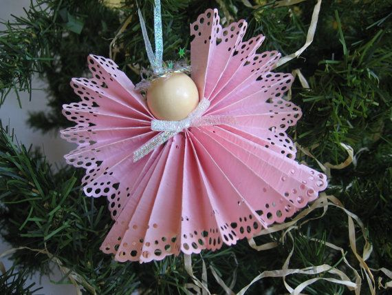 Angel Christmas Tree Ornament Pink Paper Lace by SnowNoseCrafts, $4.00Pink Paper, Paper Ornaments, Paper Lace, Angels Christmas, Pink Angels, Paper Whimsy, Paper Crafts, Lace Von, Lace Angels
