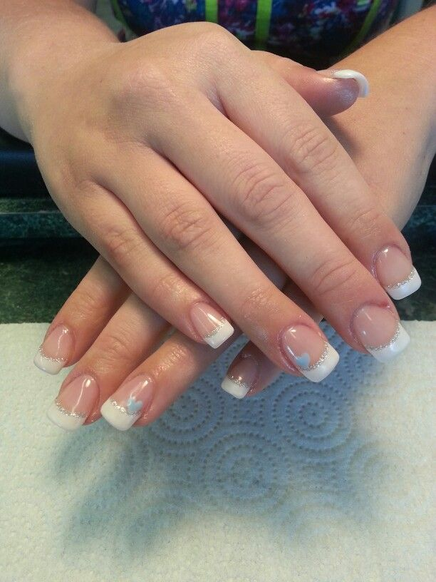 Wedding nails with a little blue and sliver