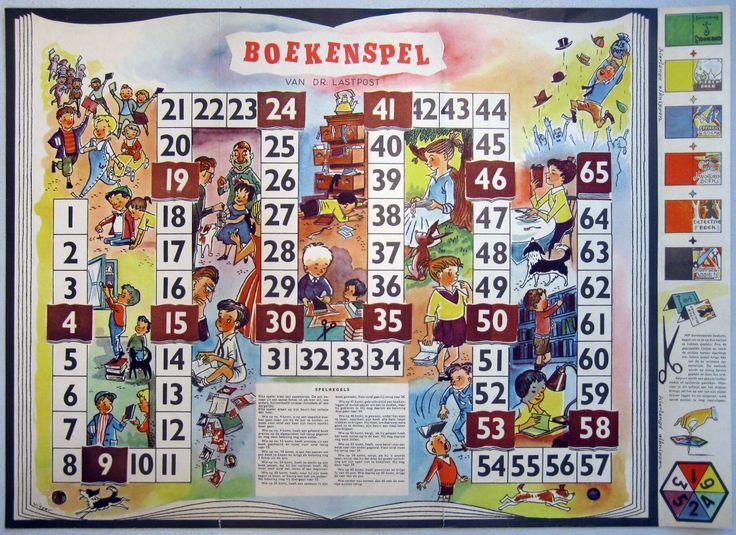 Boekenspel ontworpen door Dr. Lastpost als kinderboekenweekgeschenk voor de  kinderboekenweek 1957 van het CPNB (Stichting Collectieve Propaganda voor het Nederlandse Boek) in 1957. Dat was de derde kinderboekenweek.
