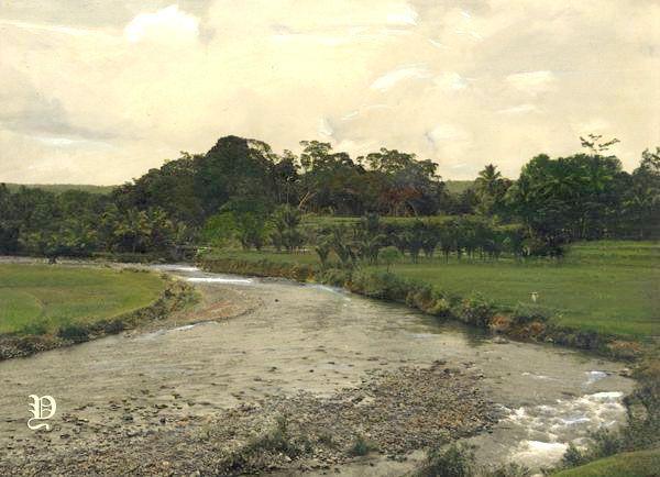 Pemandangan Sungai Dan Sawah Di Bogor Jawa Barat Sekitar 1930 Indonesie Indie