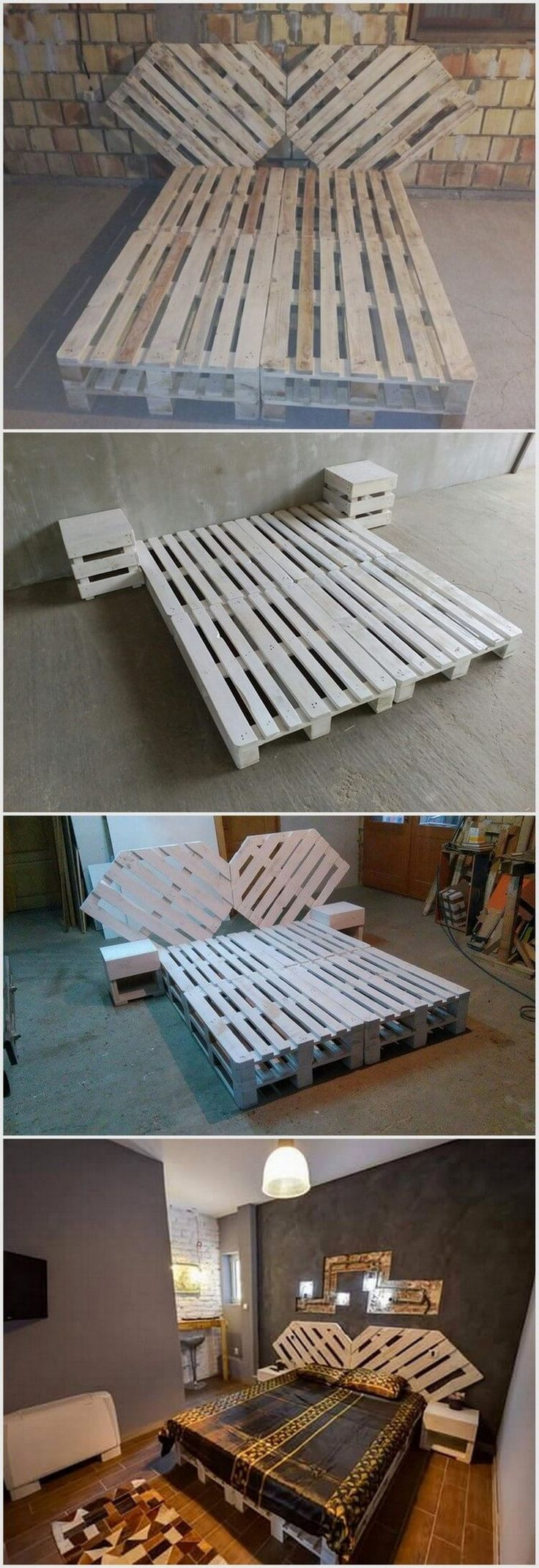 Wood Pallet Bed with Unique Style Headboard