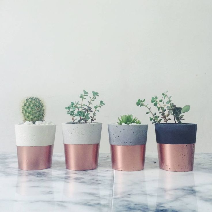 Copper Dipped Cement Pot