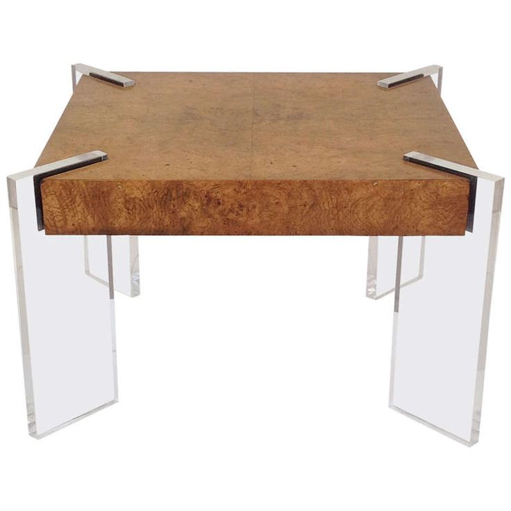 Burl Wood And Acrylic Occasional Table Designed By Valdimir Kagan