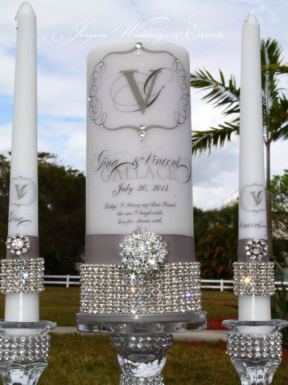 Unity Candle Rhinestone Pure Diamonds by JorgeiaWeddingEvents