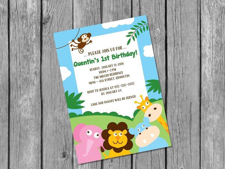 Printable jungle birthday invitation / safari birthday party invitation