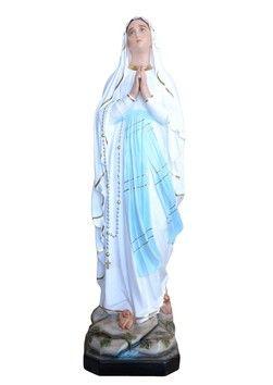 Statua Madonna di Lourdes cm. 183 altezza cm. 183 in vetroresina disponibile anche con occhi di vetro dipinta con colori acrilici e finiture ad olio  http://www.ovunqueproteggimi.com/collezione-statue/madonne/lourdes/