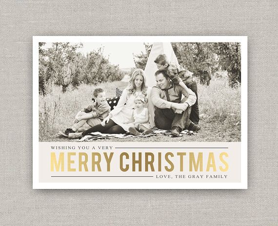 Gold Christmas Photo Card