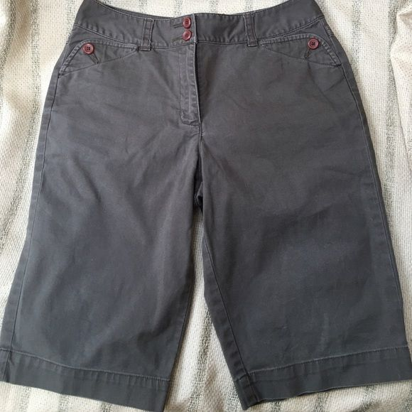Talbots Petite Shorts Quality shorts by Talbots.  Petite size 2.  96% Cotton  4% Lycra.  Machine wash cold with like colors. Beautiful light brownish/steel hue color with coordinating buttons.  Cute and comfortable! Talbots Shorts Bermudas