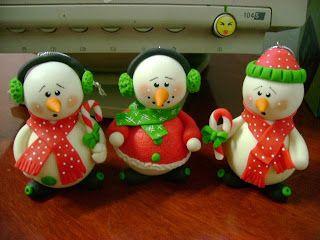 LiliArteira*Ü*ElianaTorres: Bonecos de Neve e Noéis em Biscuit