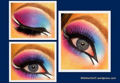 Colorful arabic eye - pink purple blue