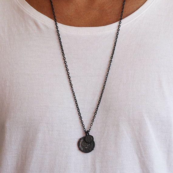 Black Mens Necklace Matte Oxidized Carpe by carpediemjewellery