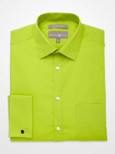 Beverly hills polo club lime green french cuff slim fit for French cuff slim fit dress shirt
